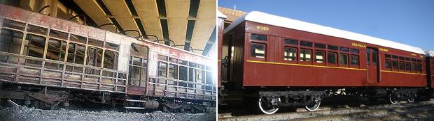 Carro N°289 no estado em que foi resgatado e após a restauração, em operação no Trem de Guararema